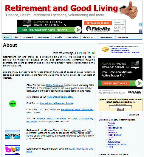 Retirement and good living site