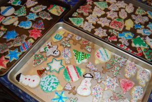 photo of trays of home-baked holiday happenings cookies