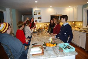Photo of my holiday happenings kitchen with the girls