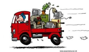 illustration of a moving truck with junk in the back on our next 10 adventure