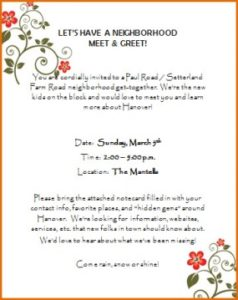 picture of our neighborhood meet & greet invitation from our next 10 adventure