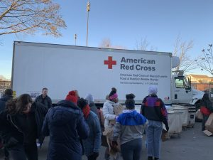 Boston Red Cross Food Pantry - truck and lots of volunteers