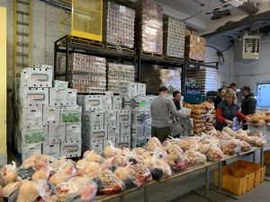 Boston Red Cross Food Pantry stocked to the rafters with food supplies at Thanksgiving