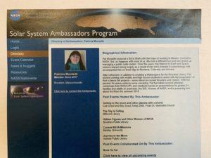 Volunteering in retirement. Pat's Solar System Ambassador page