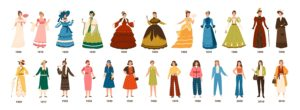 Fun illustrations of women's fashion from 1800 to present