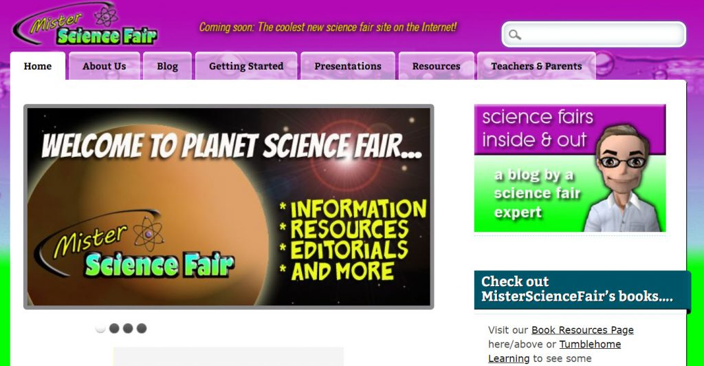 picture of Mister Science Fair website homepage
