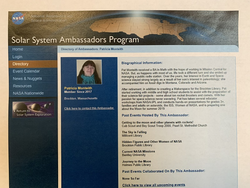 Screen shot of Pat's Solar System Ambassador Page