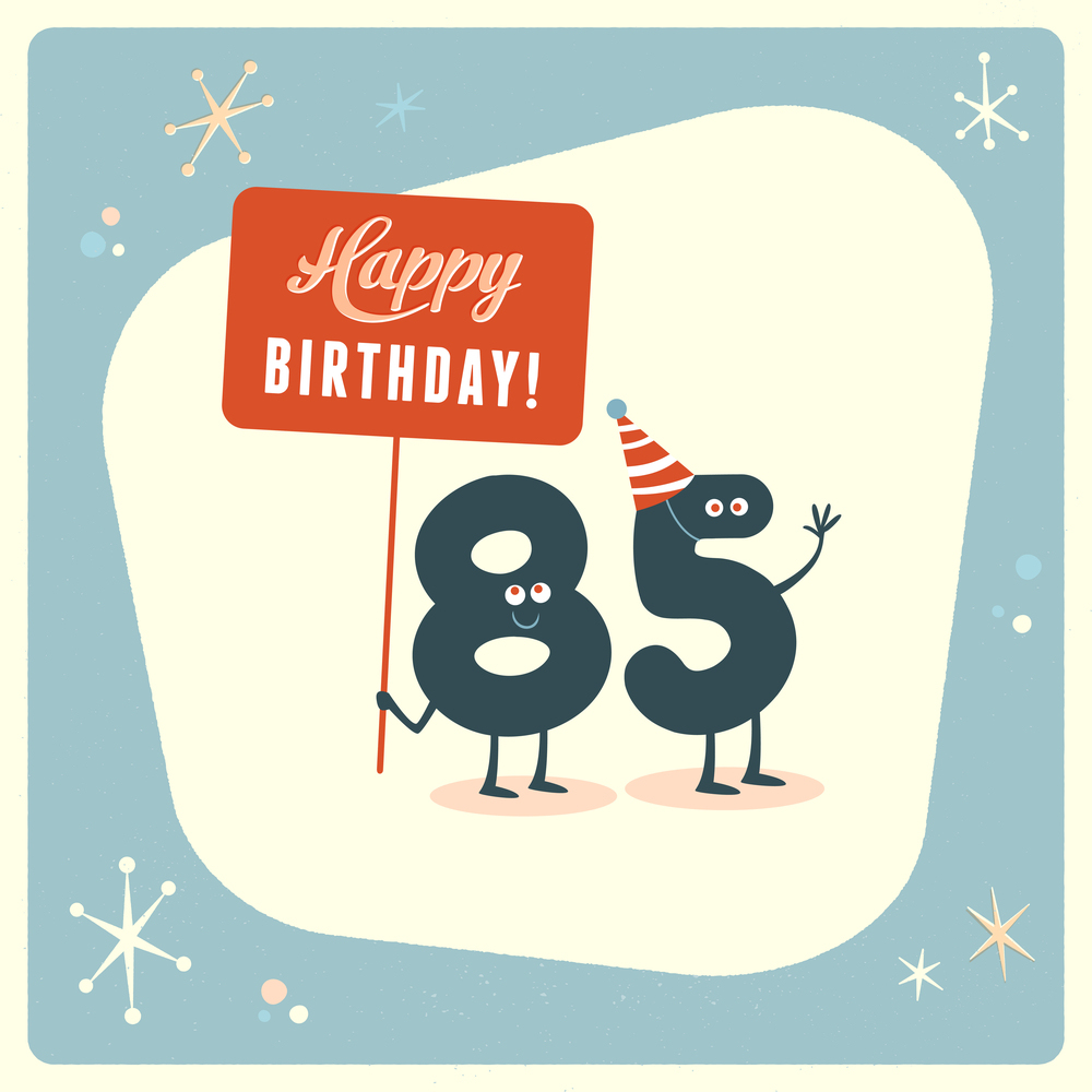 Vintage graphic of happy 85th birthday