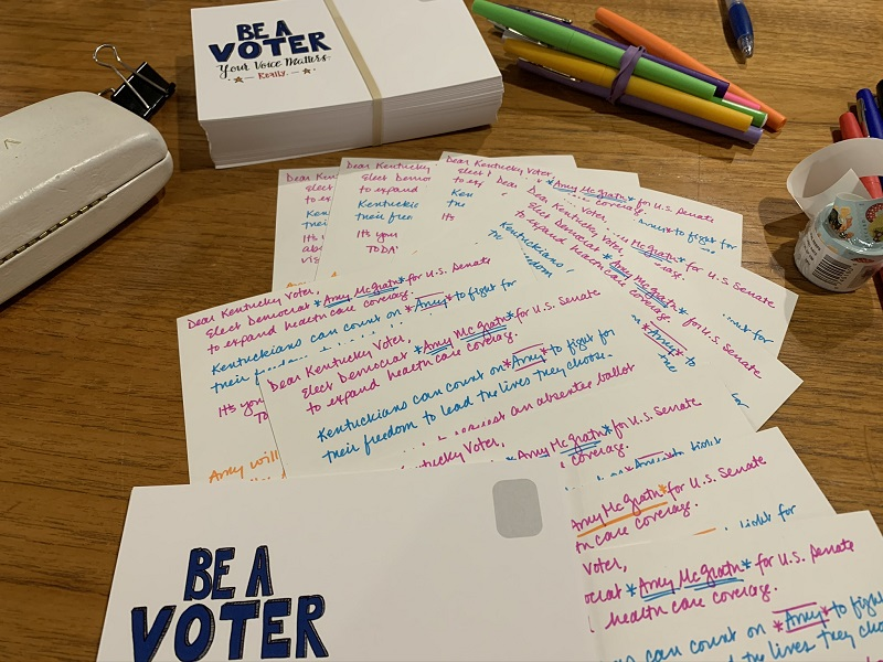 postcards for Amy McGrath and supplies