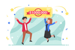Drawing of man & women with a million dollar check