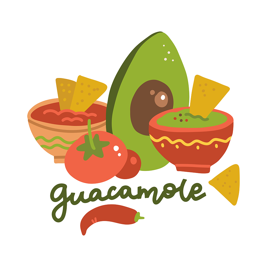 drawing of guacamole ingredients