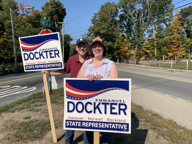 Marcia & Dan campaigning outside
