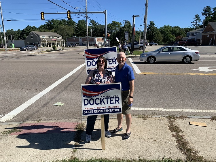 Marcia & Dan campaigning on a street corner