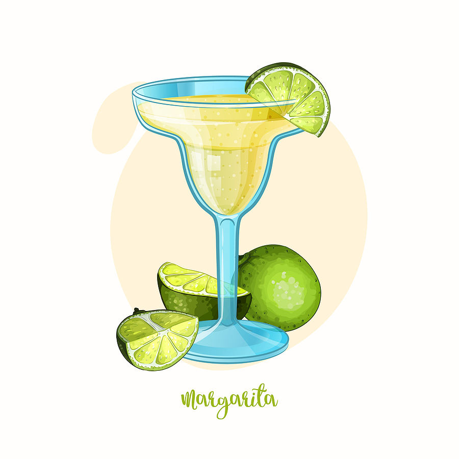 drawing of a margarita with limes