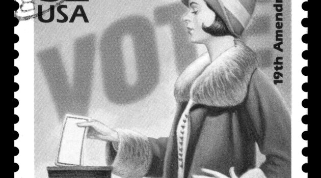 Image of a vintage woman casting her vote