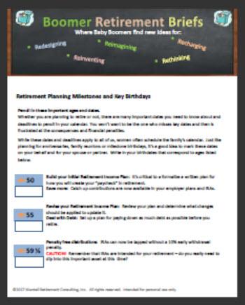 image of worksheet to capture key retirement birthdays