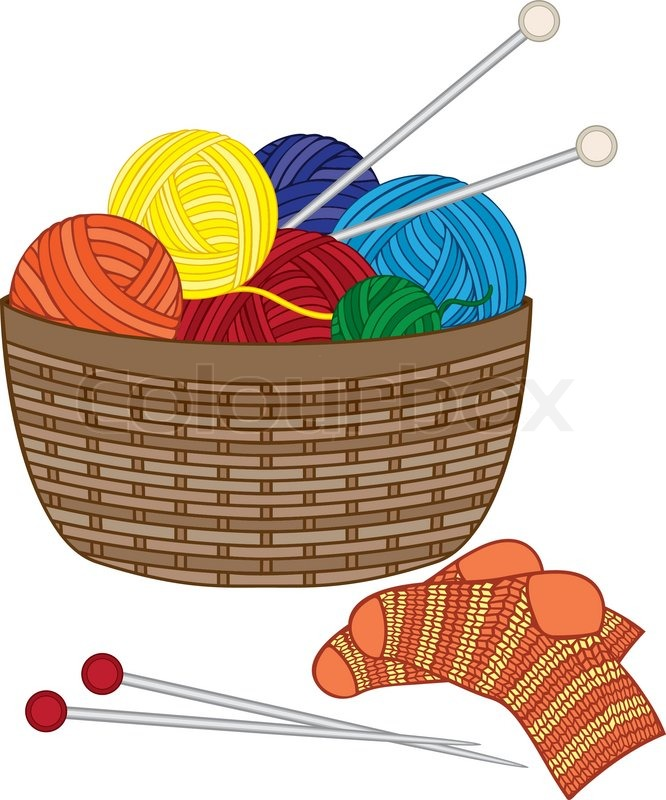 illustration of knitting basket