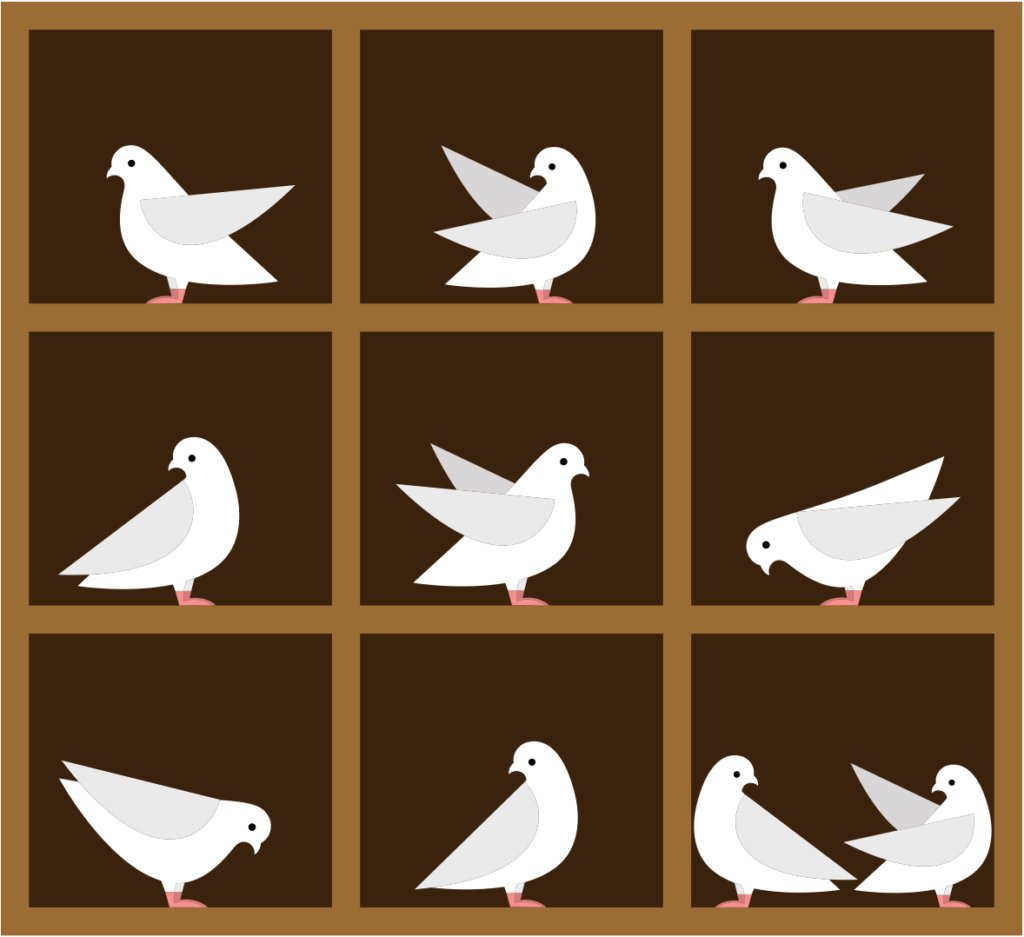 illustration of pigeons in holes
