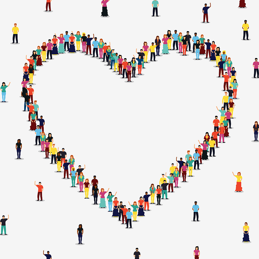 Embracing diversity image with different people in a heart shape