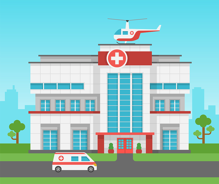 hospital with ambulance and helicopter