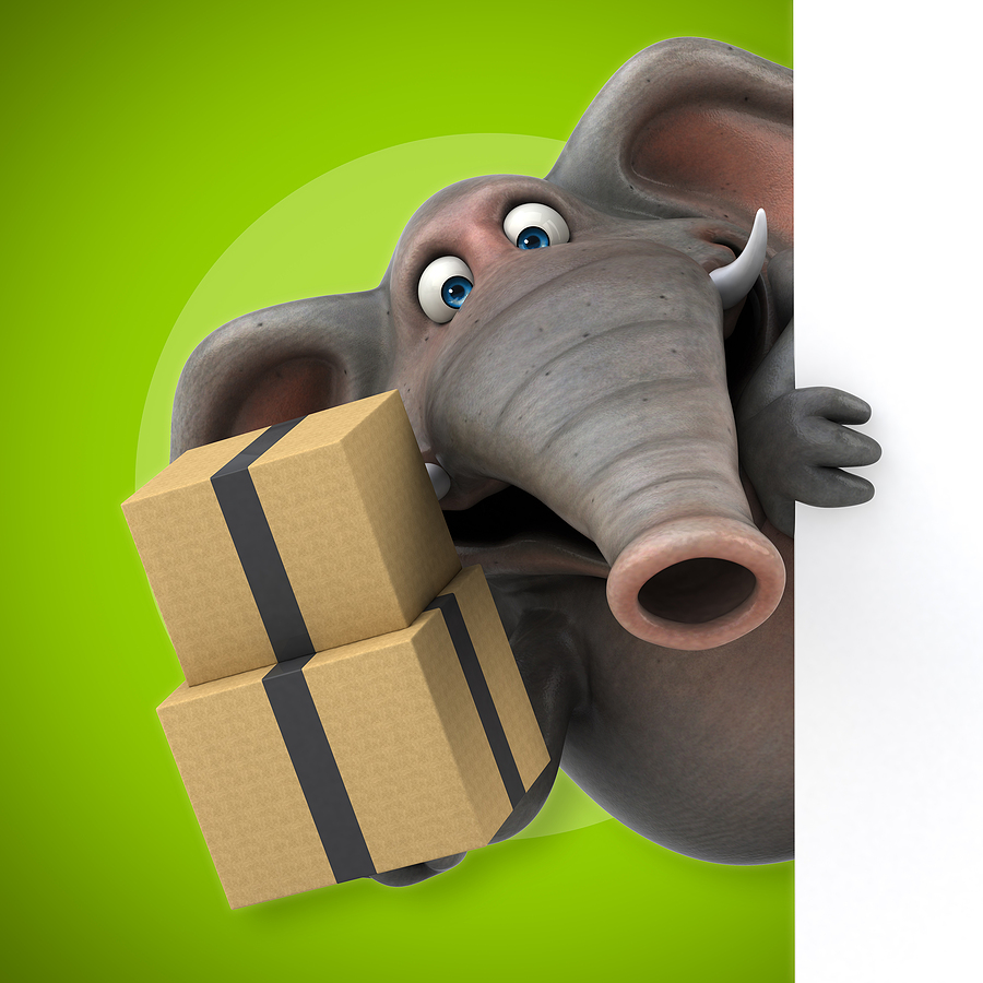 character image of a silly elephant with moving boxes