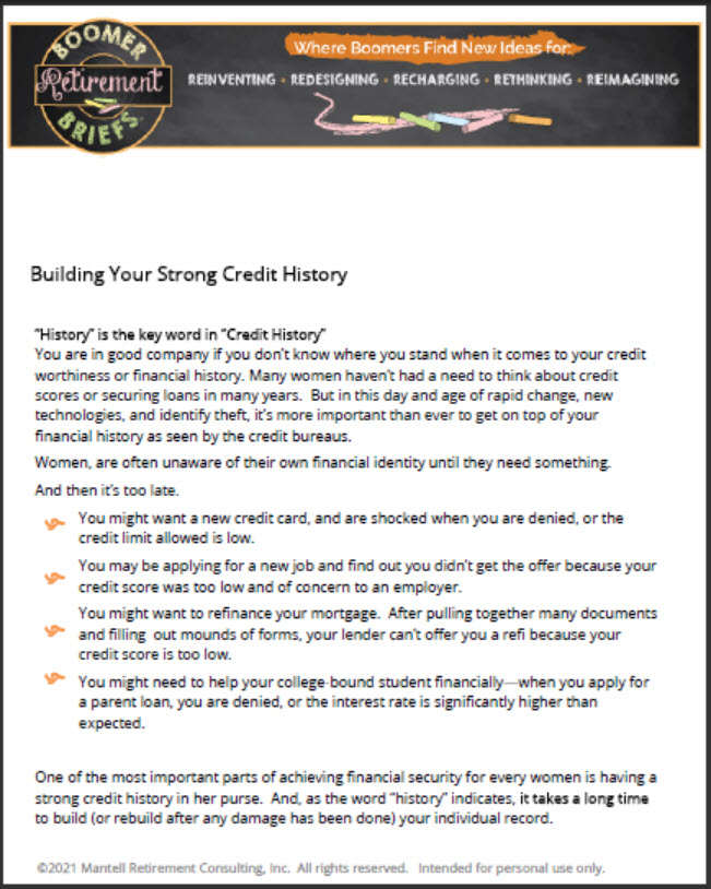 first page of Building Strong Credit resource document